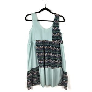 UO One & Only Boho Patchwork Mint Tunic Dress S